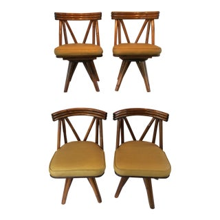 Vintage Mid Century Modern Rattan Swivel Chairs- Set of 4 For Sale
