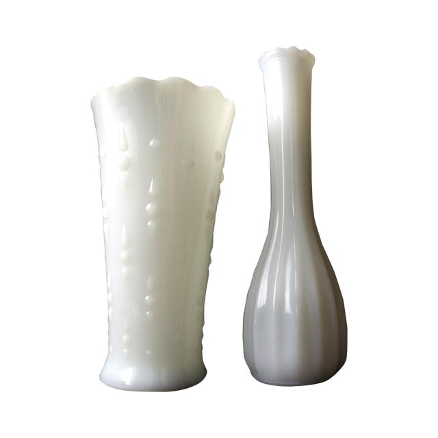 Milk Glass Vases - a Pair - Image 1 of 4