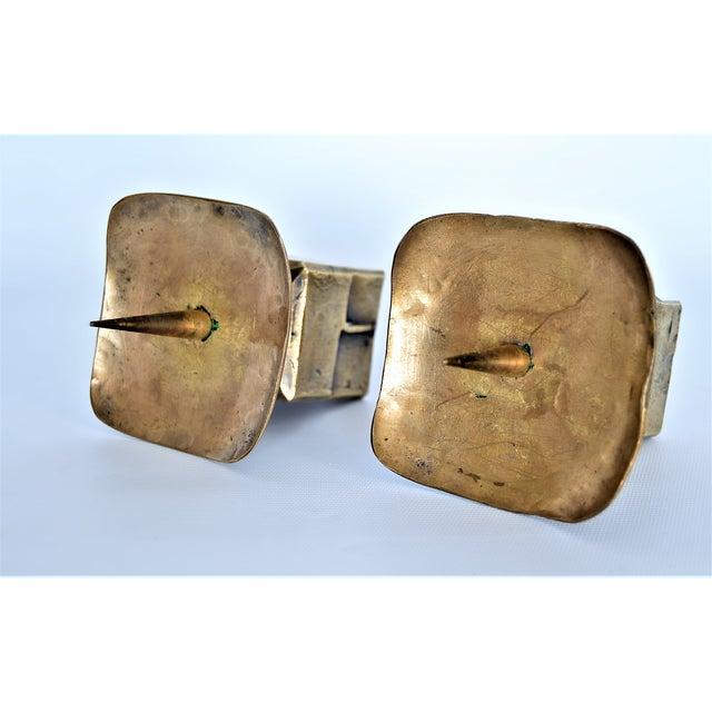 Weiland Basel Switzerland Brutalist Brass Candle Holders - a Pair- Mid Century Scandinavian Modern Candlesticks Millennial - Image 7 of 11