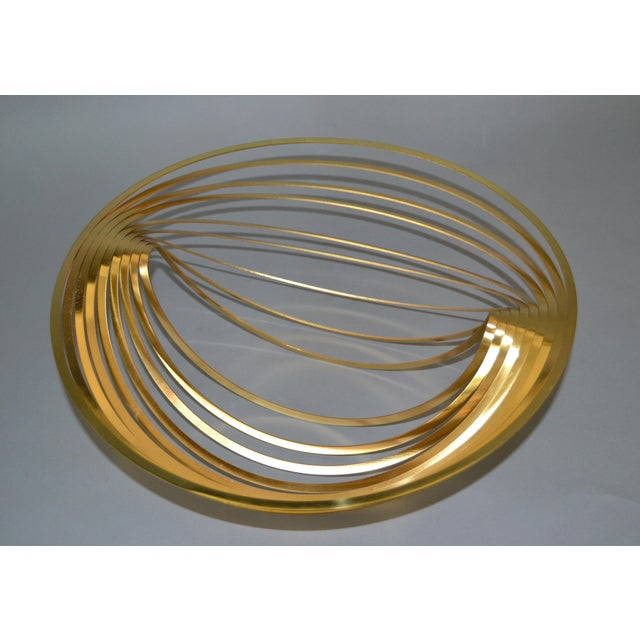 Modern Sculptural Golden Brass Rocking Bowl, Eight Mood, Sweden For Sale - Image 4 of 11
