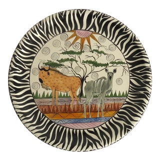 1997 African Safari Penzo of Zimbabwe Pottery Platter For Sale