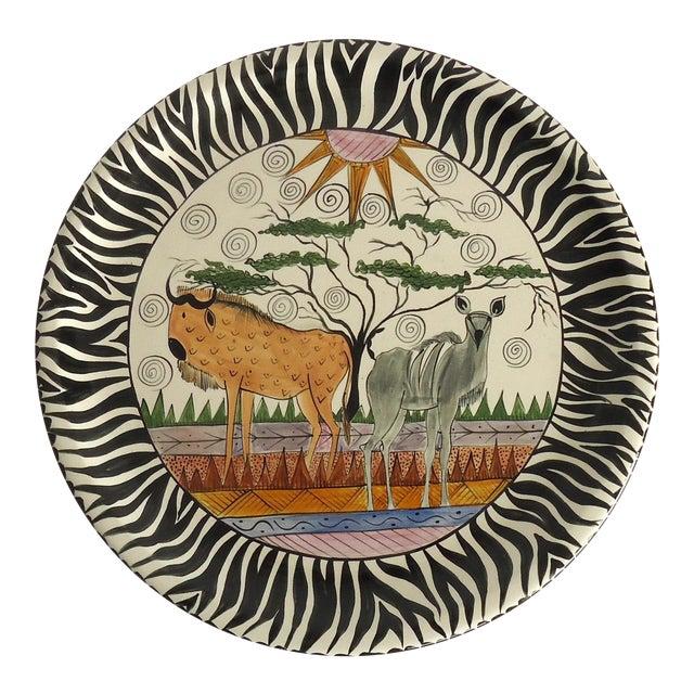 1997 African Safari Penzo of Zimbabwe Pottery Platter For Sale