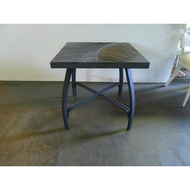 Hand-carved fossilized frond side table that can also be customized as a cocktail table. By order. Each table top is hand-...