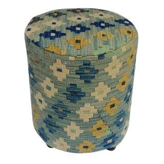 Arshs Danial Lt. Blue/Ivory Kilim Upholstered Handmade Ottoman For Sale