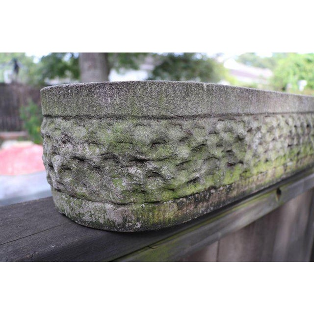 Oval, Hand-Carved Bluestone Textured Planter from Belgium, circa 1960 - Image 3 of 6
