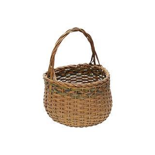 Vintage French Wicker Market Basket For Sale