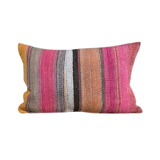 Kim Salmela Multi-Color Striped Peruvian Kilim Lumbar Pillow For Sale