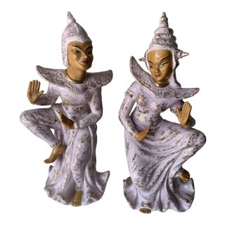 Porcelain Lefton Mid Century Indonesian Dancing Figurines - a Pair For Sale