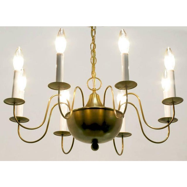 Fine Hand-Spun Brass Eight-Light Chandelier with Delicate Arms - Image 6 of 9