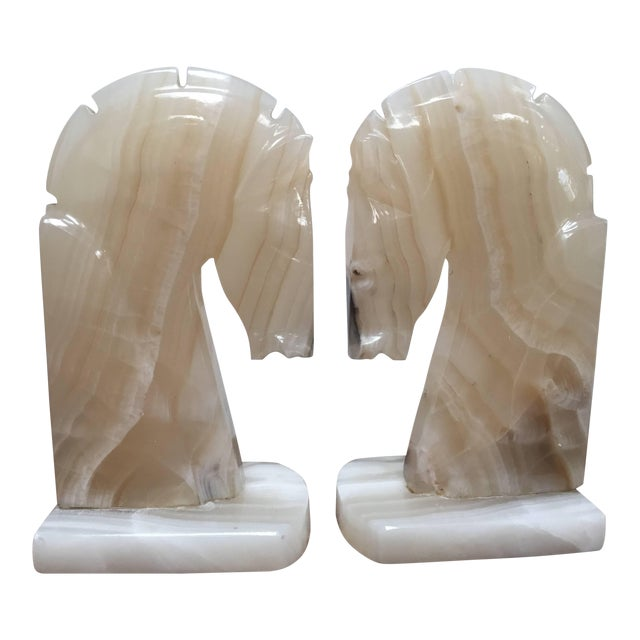 Pair of Art Deco Onyx Horses Heads Bookends Made in Italy For Sale