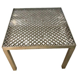 French Industrial Square Side Table