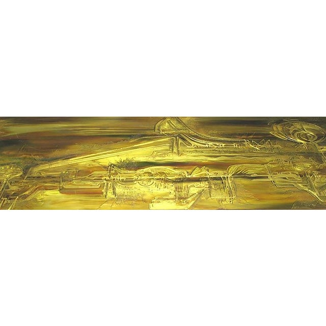Contemporary Mastercraft Brass Console with Bernhard Rohne Acid-Etched Top For Sale - Image 3 of 3