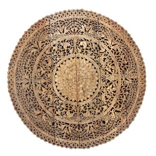 Mandala Lotus Carved Panel For Sale
