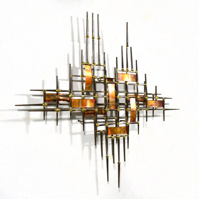 Abstract Wall Sculpture in Iron, Bronze & Copper For Sale - Image 4 of 9