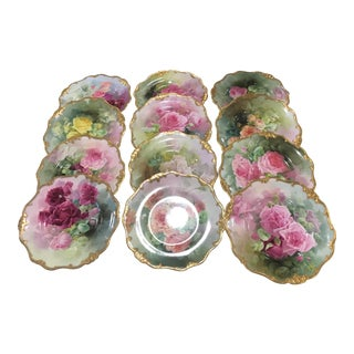 Early 20th Century Antique H. Piper for Royal Doulton Hand-Painted Porcelain Plates - Set of 12 For Sale