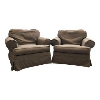 Restoration Hardware Nina Slipcover Chairs - A Pair For Sale