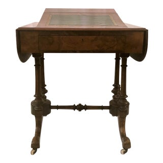 Antique English Burled Walnut Writing Table, Circa 1890. For Sale