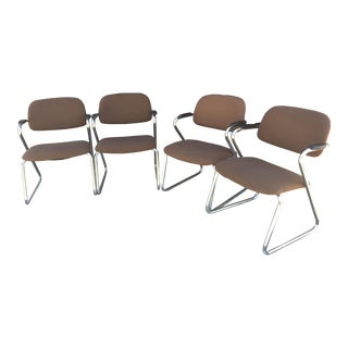 Vintage 1950's Mid-Century Chrome Chairs - Set of 4