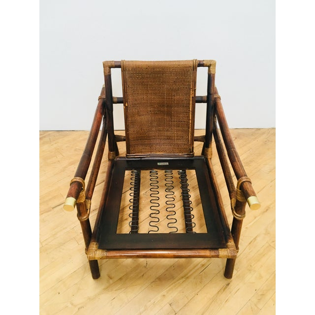 Authentic Signed Ficks Reed Rattan Campaign Chair- 1954 For Sale In San Francisco - Image 6 of 13
