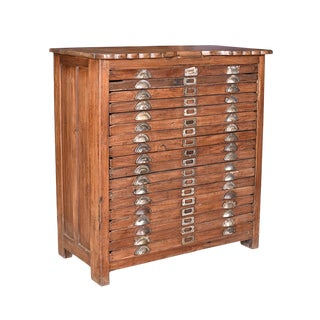 Traditional Vintage Map Filing Chest
