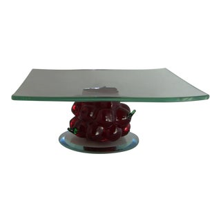 Late 20th Century Square Art Glass Serving Plate With Blown Glass Cherries For Sale
