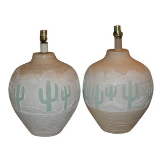 1987 Vintage American Lamp Company Southwestern Hand Signed Pottery Lamps - a Pair For Sale