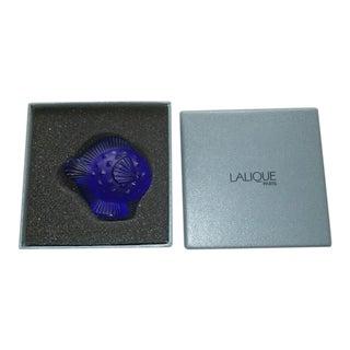 Lalique Cobalt Blue Crystal Puffer Fish