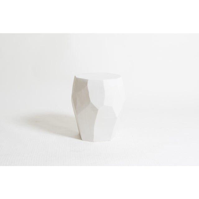 Contemporary ceramic garden stool, made in Italy.
