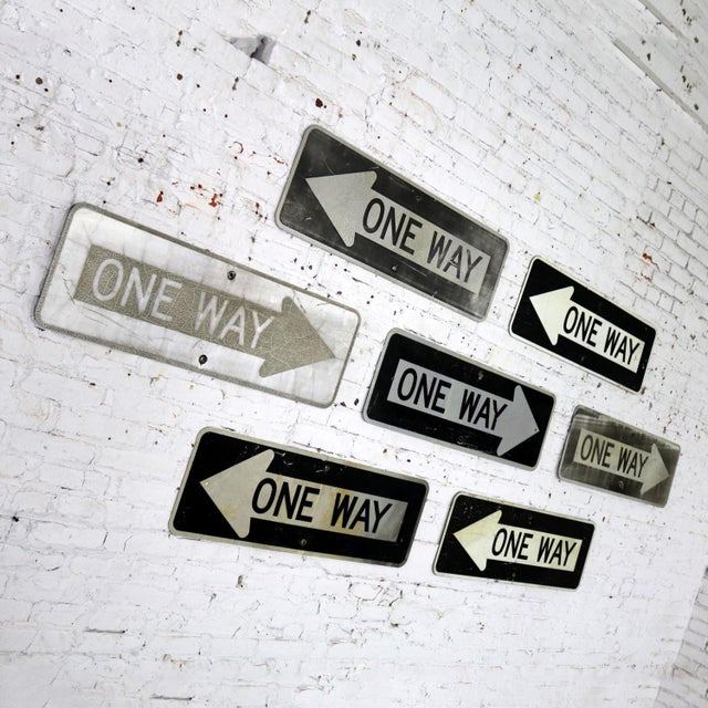 Awesome vintage metal one-way arrow signs. Buy one or all seven. We have priced them per sign but will sell all seven for...