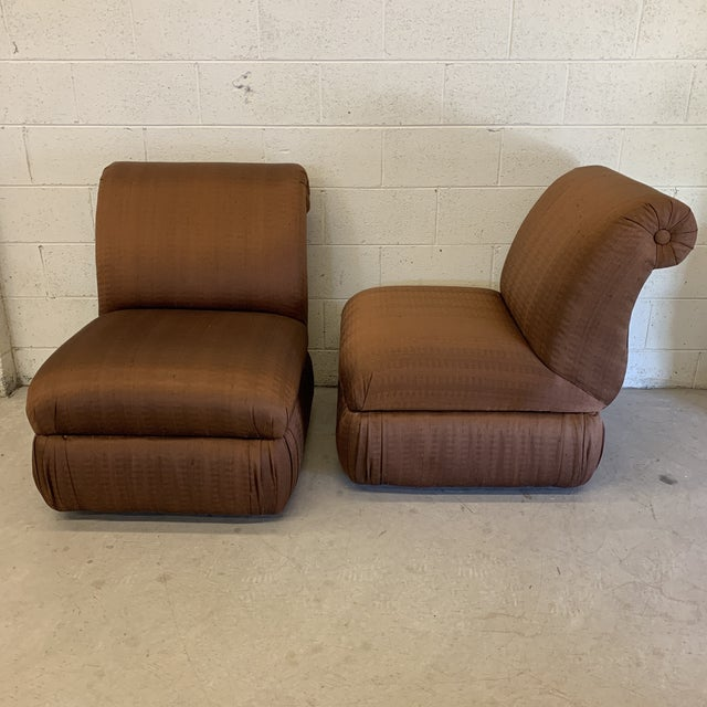 Large Hollywood Regency Copper Silk Colored Slipper Chairs - a Pair For Sale - Image 12 of 12