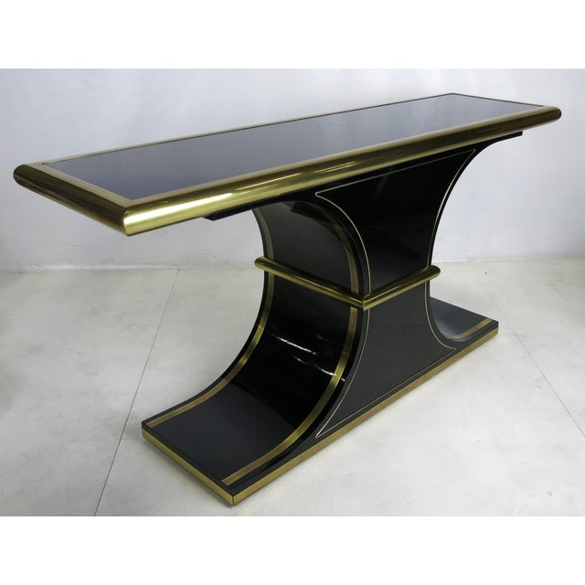 Hollywood Regency Lacquer and Brass Console by Mastercraft For Sale - Image 3 of 4
