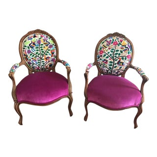 Shabby Chic French Eclectic Boho Violet Arm Chairs - a Pair