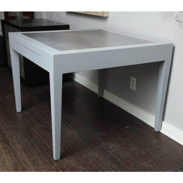 2010s Metallic Grey Leather and Lacquer Game Table For Sale - Image 5 of 8