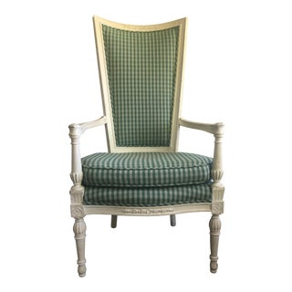 Gustavian Hand Painted Upholstered Fabric Arm Chair For Sale