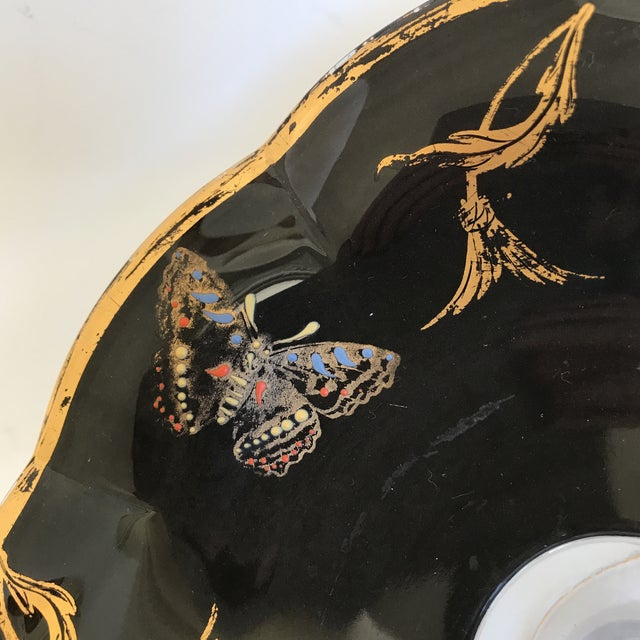 Asian Vintage Glass Butterfly Decor Bowl For Sale - Image 3 of 11