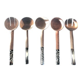 Wood and Bone African Serving Spoons - Set of 5