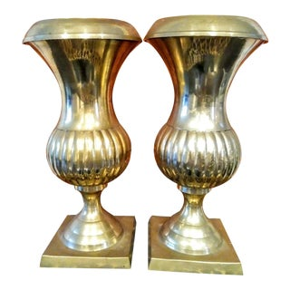 A Pair of Brass Urn Planters For Sale