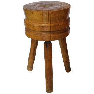 Antique Butcher Round Block Table For Sale