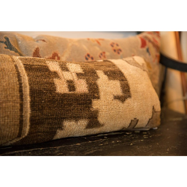 2010s Reclaimed Vintage Turkish Rug Fragment Lumbar Pillow For Sale - Image 5 of 8