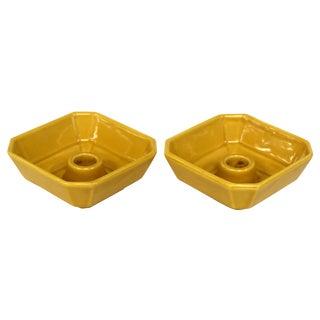 Mid-Century Mustard Ceramic Candleholders - Pair For Sale