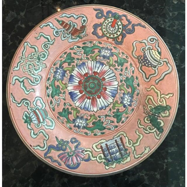 Orange Vintage Chinoiserie Decorative Pink Porcelain Plate For Sale - Image 8 of 8