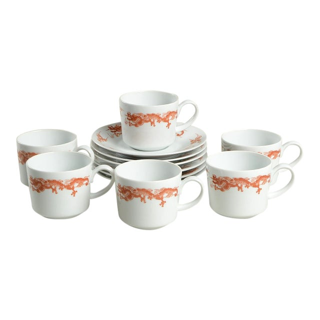 Fukagawa for Tiffany Dragon Red Cup & Saucer Set/6 For Sale