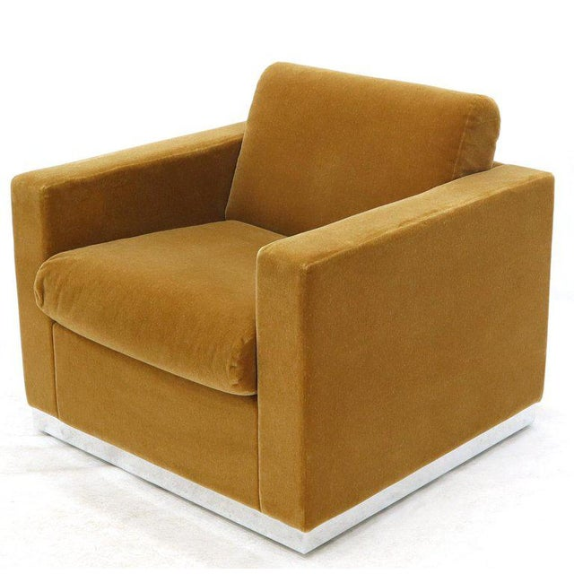 Metal Three Pieces Mohair Living Room Set Club Chairs Love Seat Sofa For Sale - Image 7 of 13