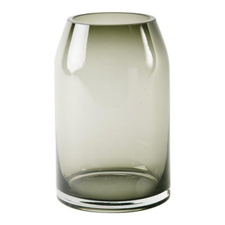 Mid-Century Modern Smoked Grey Glass Sommerso Vase For Sale