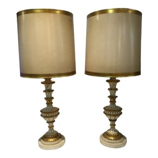 Hollywood Regency Gold Table Lamps - a Pair