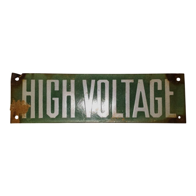 Vintage Green Porcelain High Voltage Sign - Image 1 of 6