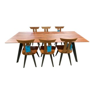 Mid-Century Modern Floor Model Oslo Rustic Cherry Dining Set - 7 Pieces For Sale