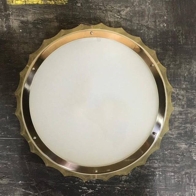 Mid-Century Modern Large-Scale Lucite and Glass Flush Mount by Sirmos For Sale - Image 3 of 10