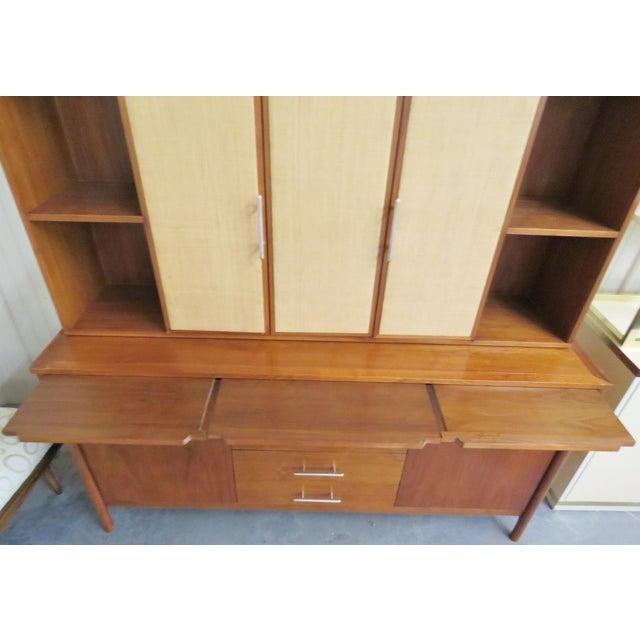 John Stuart Modern Teak & Burlap Breakfront Cabinet - Image 9 of 9