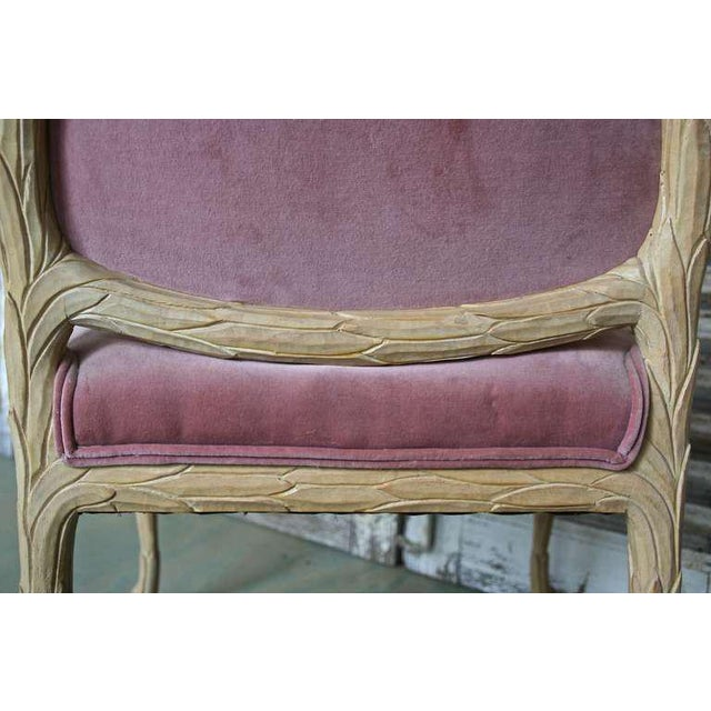 Textile 1960s Hollywood Regency Hand-Carved Dining Chairs - Set of 6 For Sale - Image 7 of 11